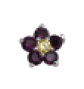 Flower Purple/Yellow - Silver & CZ Charm